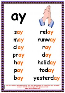 AI and Ay Phonics Worksheets http://www.seomraranga.com/2010/07/phonics-poster-ay-words/