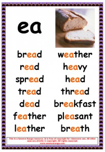 Worksheets Ea Words phonics poster ea words 2