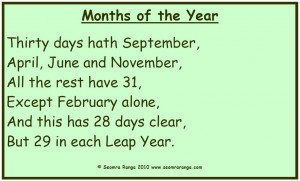 Months of the Year Rhyme