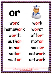 Phonics Poster – or Words 1 « Seomra Ranga