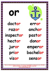 Phonics Poster – or Words 2