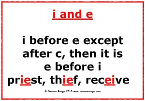 Lsia lessons spelling i before e except after c