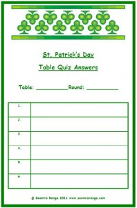 St. Patricks Day Table Quiz Answer Sheet