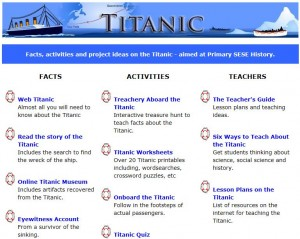 Scoilnet Titanic Themepage