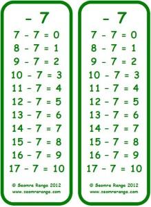 Subtraction Bookmark -7