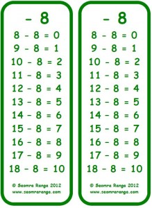 Subtraction Bookmark -8