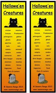 Hallowe'en Creatures Bookmarks