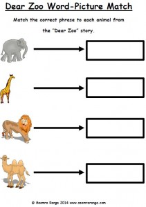 Dear Zoo Word Picture Match