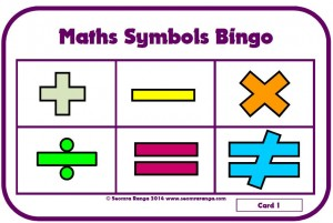 Maths Symbols Bingo