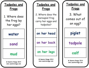 Peg Comprehension: Tadpoles and Frogs