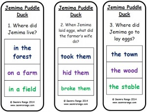 Peg Comprehension: Jemima Puddle Duck