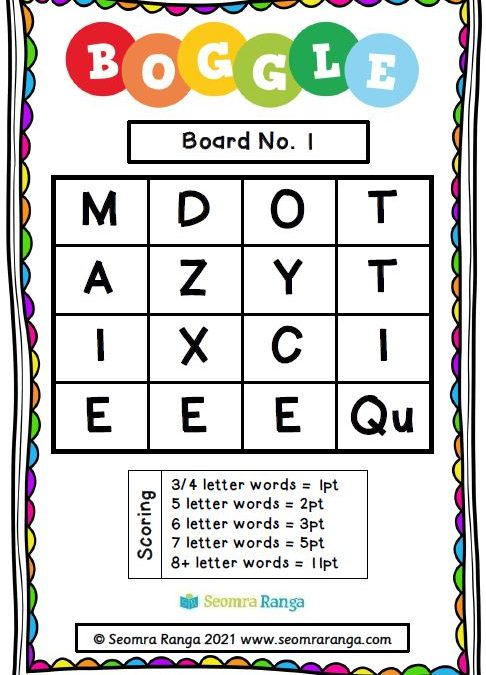 English Task Cards – Boggle 01