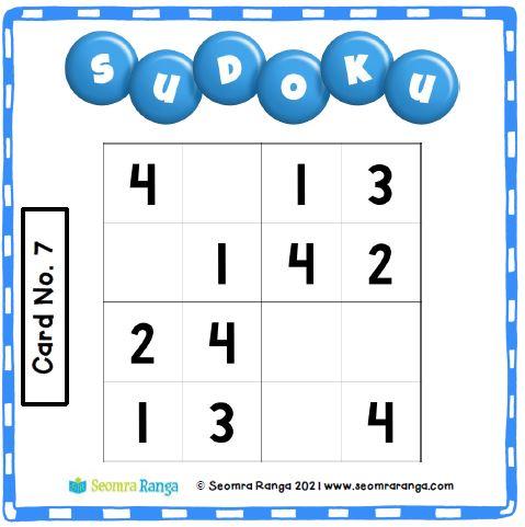 Maths Task Cards – Sudoku 01